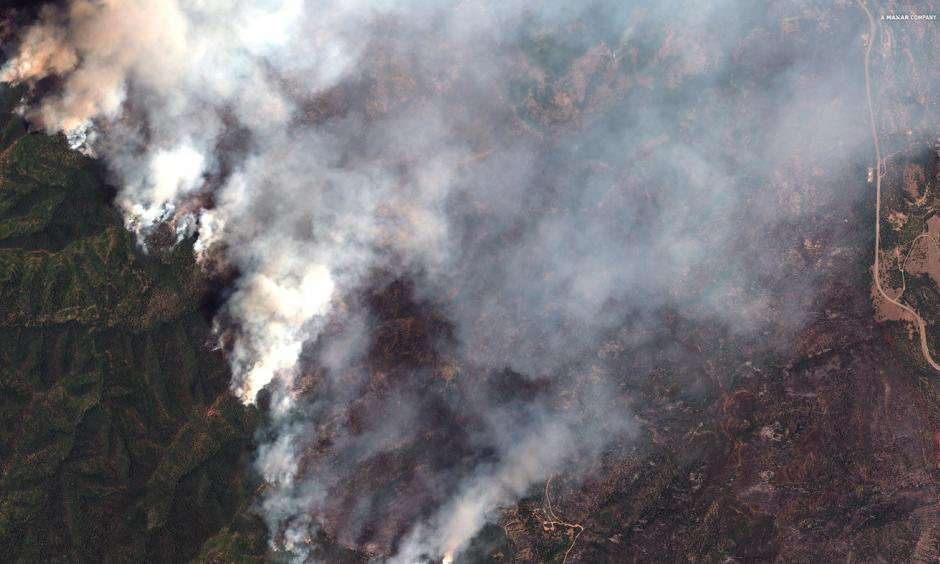 A satellite image provided by DigitalGlobe shows the 416 Fire northwest of Hermosa, Colo., which has forced the closure of the San Juan National Forest. Credit: AP