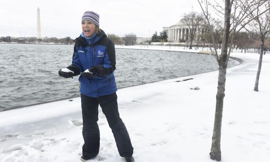 The Weather Channel's Jen Carfagno reports on Winter Storm Stella from the Tidal Basin in Washington, D.C. on Tuesday, March 14, 2017. Photo Kevin Wolf, AP Images for The Weather Channel
