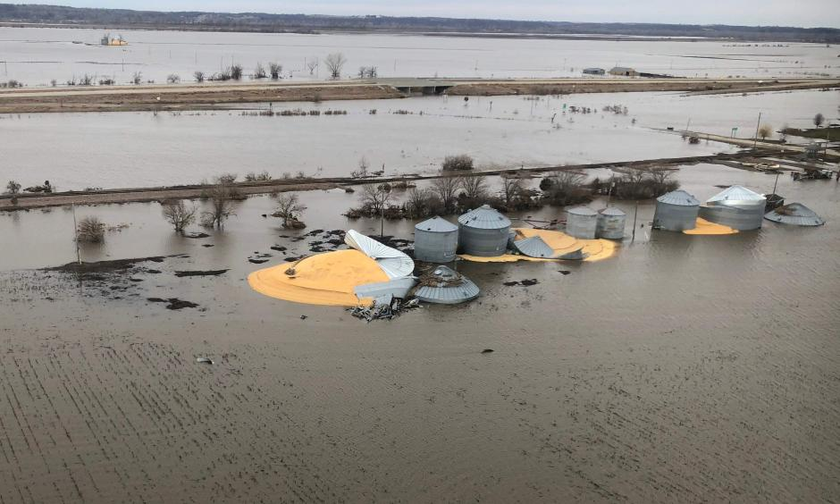 The contents of grain silos which burst from flood damage are shown in Fremont County, Iowa, U.S., March 29, 2019. Photo taken March 29, 2019. Credit: Tom Polansek, Credit