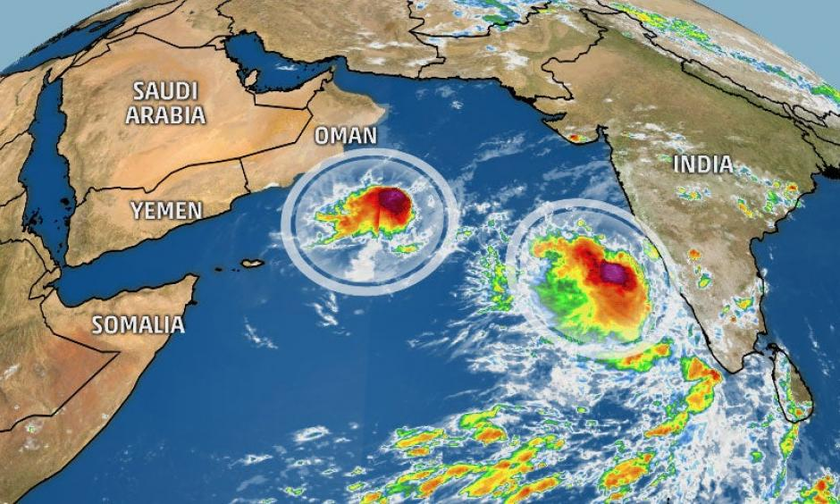 The pair of tropical cyclones in the Arabian Sea on Oct. 31, 2019.