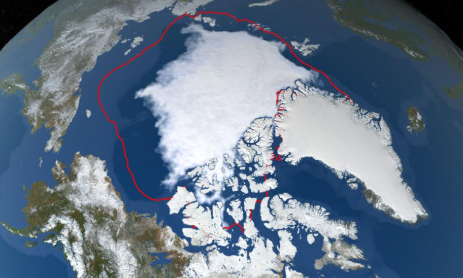The September 18, 2019 Arctic Sea Ice extent (blue-white), compared to the 1981-2010 average minimum extent (red line). Credit: NASA Goddard