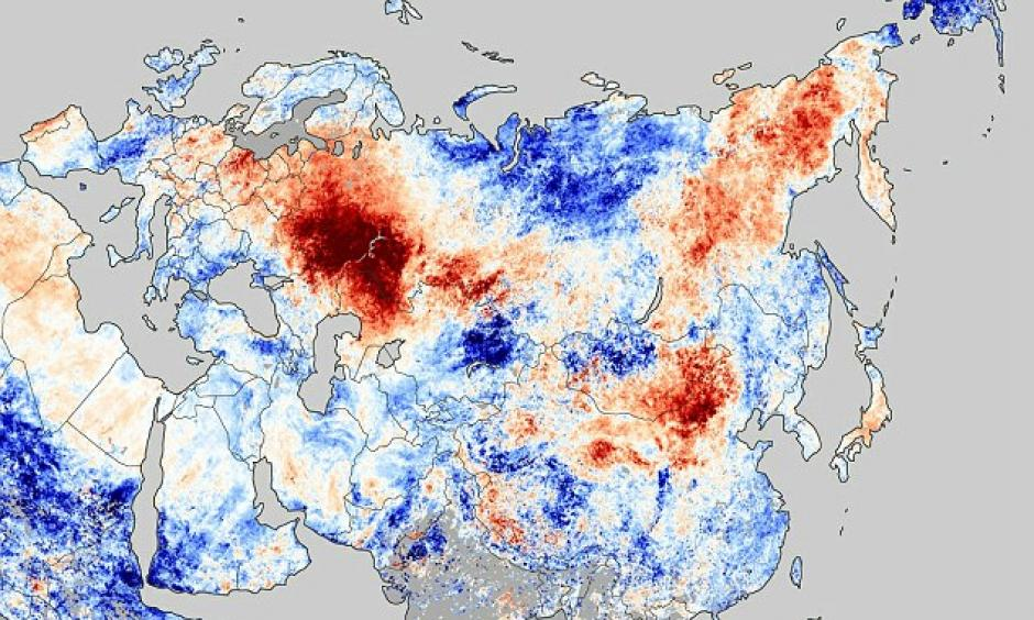 A Nasa image shows hotspots (in red) in the vast country caused by out-of-control wildfires. There are at least 550 separate blazes nationwide