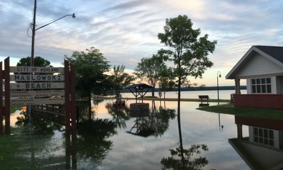 Some flooding by Lake Superior Ashland 7-12-16. Photo: @clkoval / Twitter