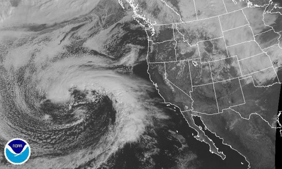 satellite presentation of Pineapple Express storm headed for Southern California. Image: NOAA