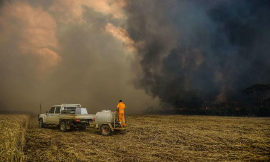 A fire east of Esperance in Western Australia this week. A prolonged fire season could strain the largely volunteer firefighting forces in Australia and destroy crops, livestock and farms. Credit Department of Fire and Emergency/Agence France-Presse — Getty Images