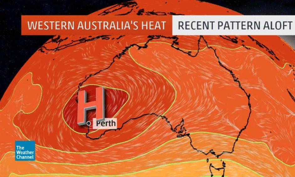 Upper-level weather pattern, featuring a dome of high pressure aloft, responsible for Perth, Australia's record heatwave from Feb. 7-10, 2016. Photo: The Weather Channel
