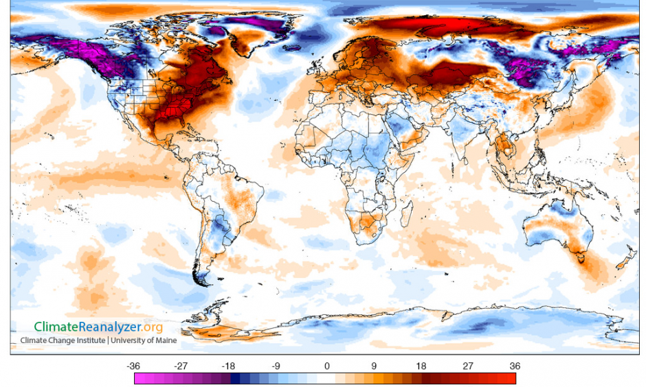 Temperature departure from average for Dec. 25, 2015. Image: Climate Reanalyzer