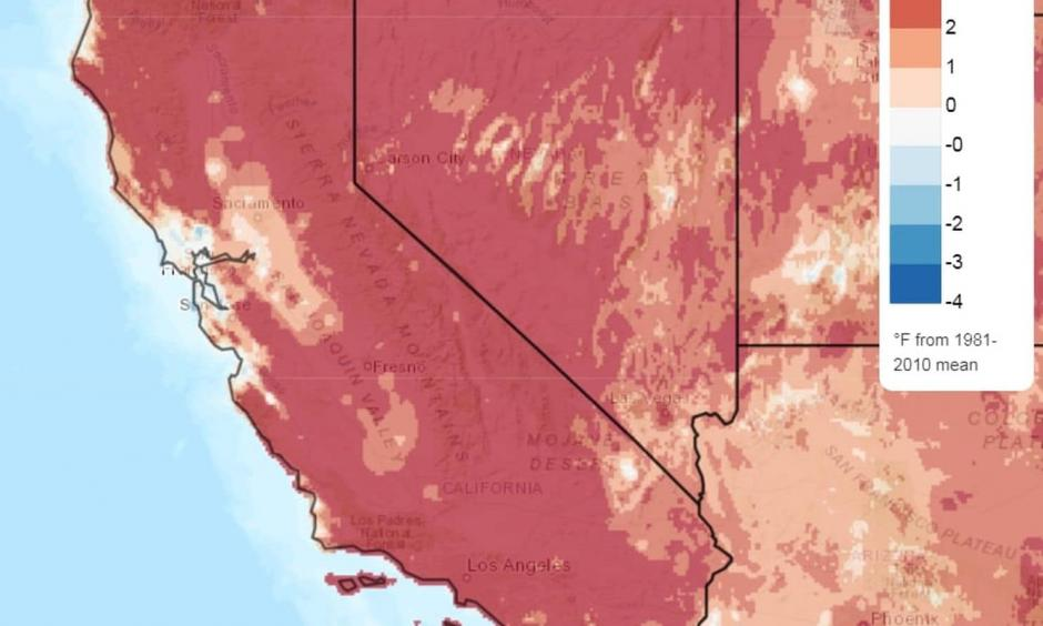 Temperature difference from normal in California over past 30 days. Image: Climate.gov