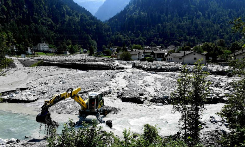 Storms have triggered landslides in the Alps that have sent mud and debris pouring into villages. Bondo, in the Swiss Alps, has been hit more than once in recent years. The video below shows the destruction from 2017. Photo: Miguel Medina, AFP/Getty Images