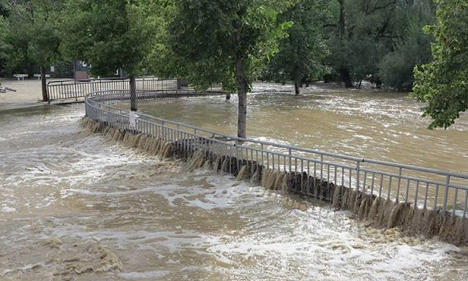 Grounds of Boulder High School on September 13, following historic rainfall and flooding. By September 16, the month-to-date precipitation was already more than 1.7 times any monthly rainfall total since records began in the late 1880s. Photo: Bruce H. Raup