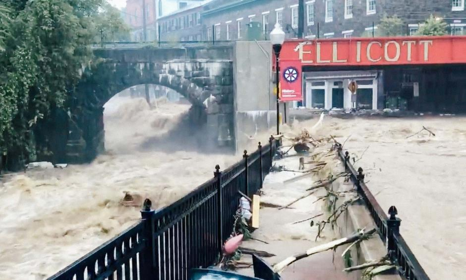 Flooding is seen in Ellicott City, Maryland, on Sunday in this still image from video from social media. Photo: Todd Marks, Reuters