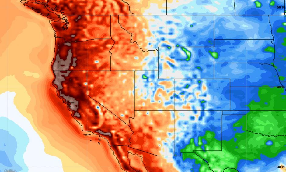 24-hour temperatures compared with normal, centered on today and in degrees F. Credit: WeatherBell