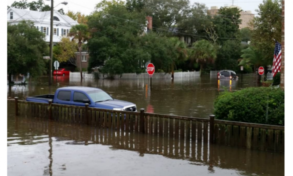 The scene in Charleston, S.C., on Tuesday morning during high tide. Photo: Jessica Hofford