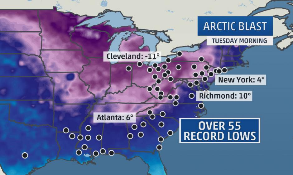 Arctic blast sets over 55 record lows. Image: The Weather Channel
