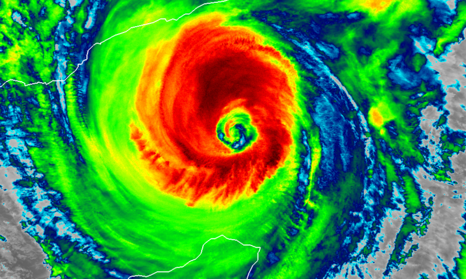 Cyclone Chapala is forecast to make landfall in Yemen — which has basically zero experience with storms like this — as the equivalent of a Category 2 hurricane. Image: NOAA