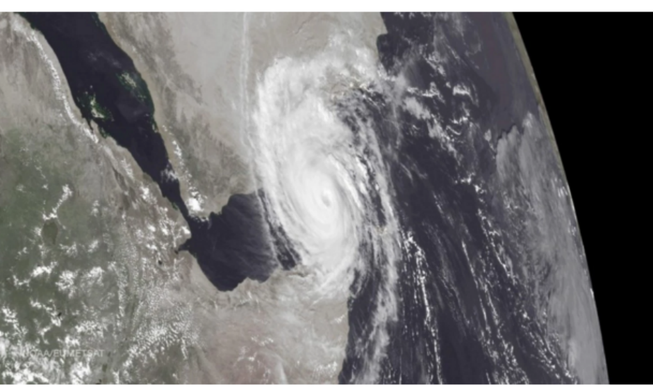 Cyclone Chapala flooded the coastal cities of Yemen with at least five years worth of rain when it made landfall early Tuesday morning. Photo: NOAA, EUMETSAT