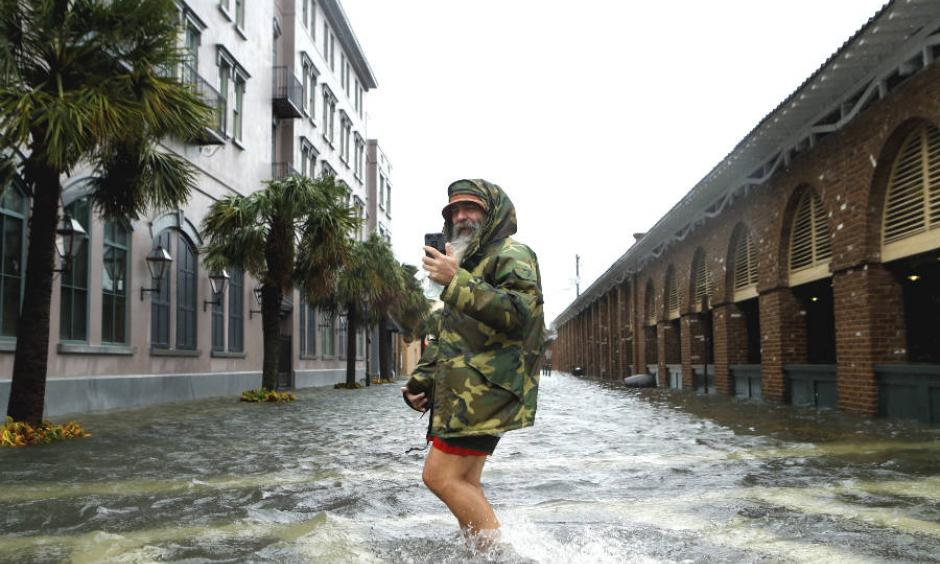 Rising sea levels increase the risk of storm surge flooding in coastal cities like Charleston, South Carolina, shown here after Hurricane Matthew. Photo: Brian Blanco, Getty Images