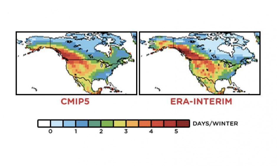 Mean winter cold air outbreak durations during 1981-2000 from the CMIP5 multi-model ensemble mean (left) and from the ERA-Interim global reanalysis (right). Image: Gao, Leung and Lu