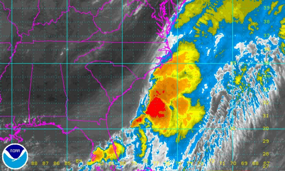Figure 1. Infrared satellite image of Tropical Storm Colin at 1415Z (10:15 AM EDT) Tuesday, June 7, 2016. Image: NOAA/NESDIS.