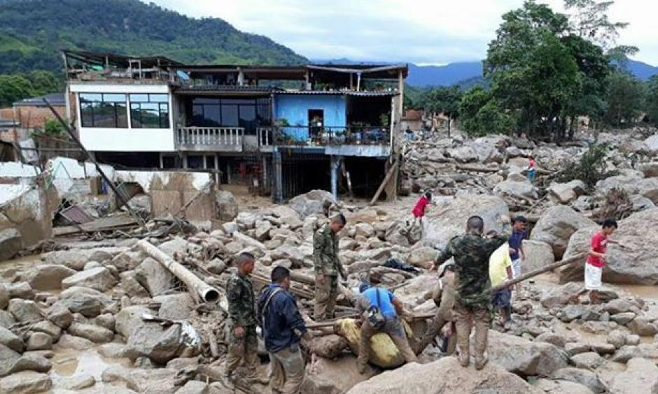 The planet's deadliest weather-related disaster of April--and of the entire year thus far--was a powerful debris flow that hit the Colombian town of Mocoa in the early hours of April 1. Overflowing rivers mixed with huge amounts of rocks and soil swept through the town, killing 329 and leaving 70 missing. Photo: Ejército Nacional de Colombia via Facebook.