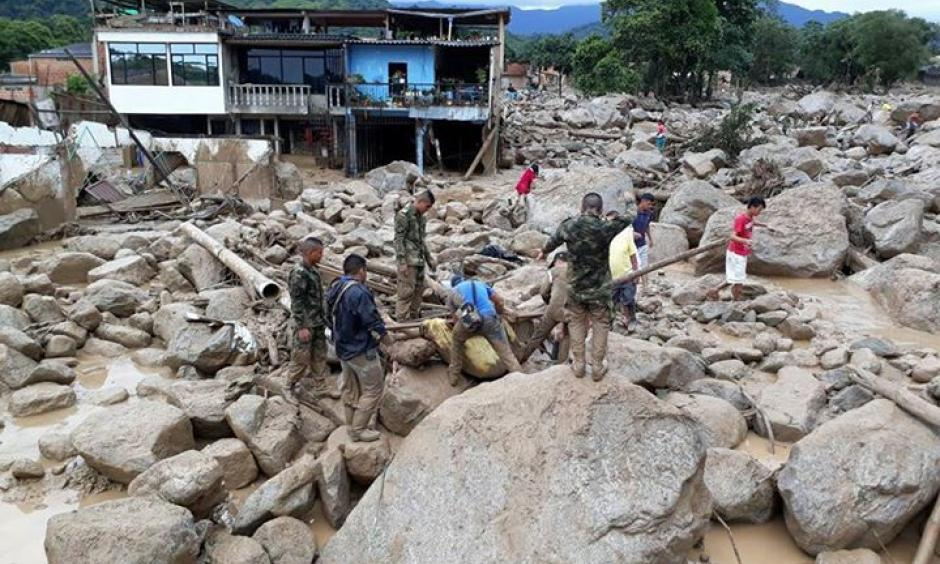 Mocao, Colombia after the Saturday, April 1, 2017 flood.  A video from early Saturday morning showed cars and trucks being swept down the streets. Photo:  Ejército Nacional de Colombia via Facebook