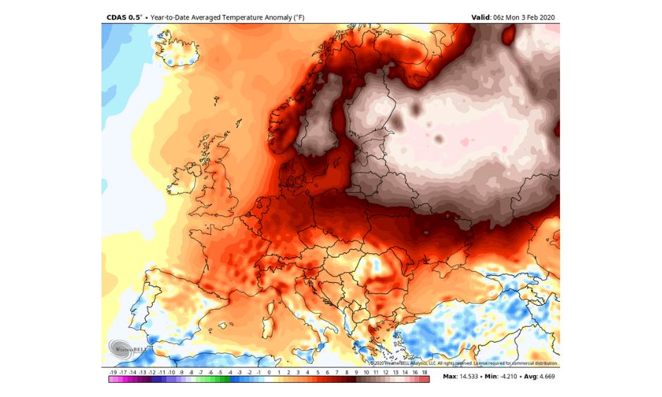 warmest January in Europe
