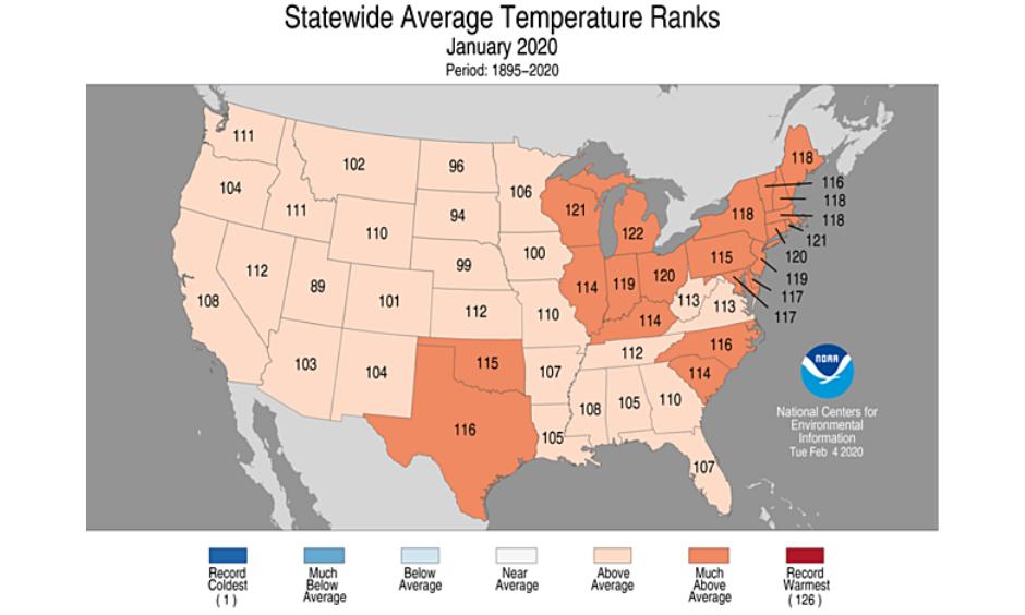 warm winter across the US