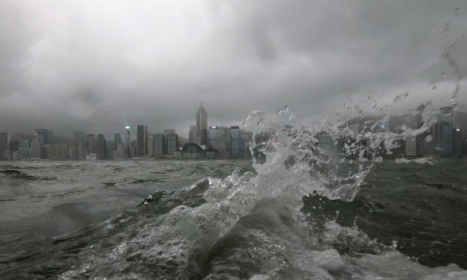 strong waves at Victoria Harbour in Tsim Sha Tsui as Typhoon Pakhar hits Hong Kong days after Hato. Photo: Felix Wong