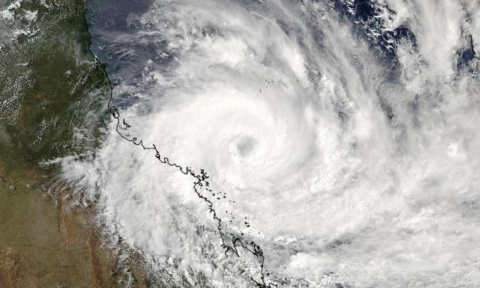 Tropical Cyclone Debbie, as seen on Monday afternoon (local time), 03:50 UTC March 27, 2017. At the time, Debbie was an intensifying Category 2 storm with 105 mph winds. Image: NASA