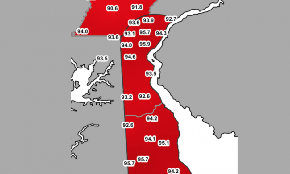 The University of Delaware Environmental Observing System captured these air temperatures shortly before 5 p.m. Some of Delaware's hotspots: The Boardwalk in Rehoboth Beach, Ellendale, Newark and the Delaware State Fair grounds in Harrington. Image: University of Delaware DEOS