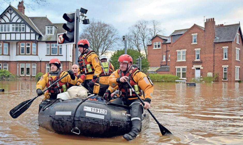 Rescue services in Carlisle during the floods caused by Storm Desmond. Photo: Financial Times