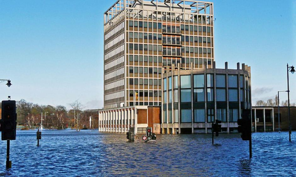 Carlisle Civic Centre in the floodwater, December 2015. Image: Rose and Trev Clough