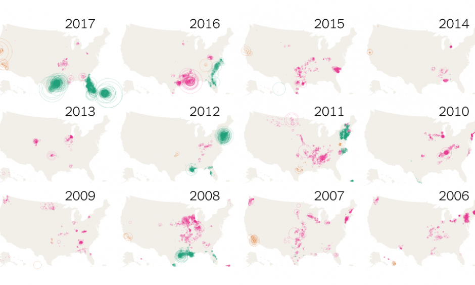 The patterns of disasters, year by year. Image: The New York Times, Small Business Administration