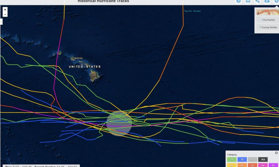Tracks of the 17 named storms since 1950 within ~100 miles of #HurricaneLane's current position.  16 missed Hawaii by at least ~75 miles.  The 17th storm was #Hurricane Iniki which made landfall on Kauai as a Category 4. Credit: Philip Klotzbach, Twitter