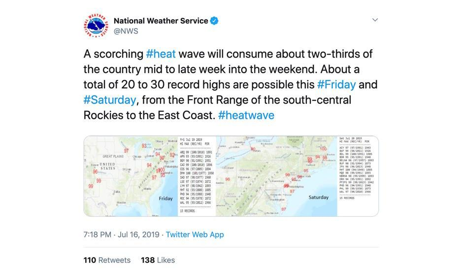 Tweet: National Weather Service