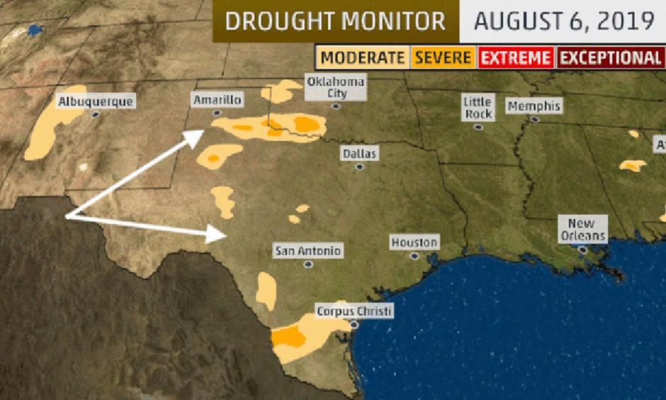 Drought monitor analyses showing the expansion of drought, highlighted by the white arrows, over parts of Texas and Oklahoma from July 23 to August 6, 2019. Image: USDA, NDMC, NOAA