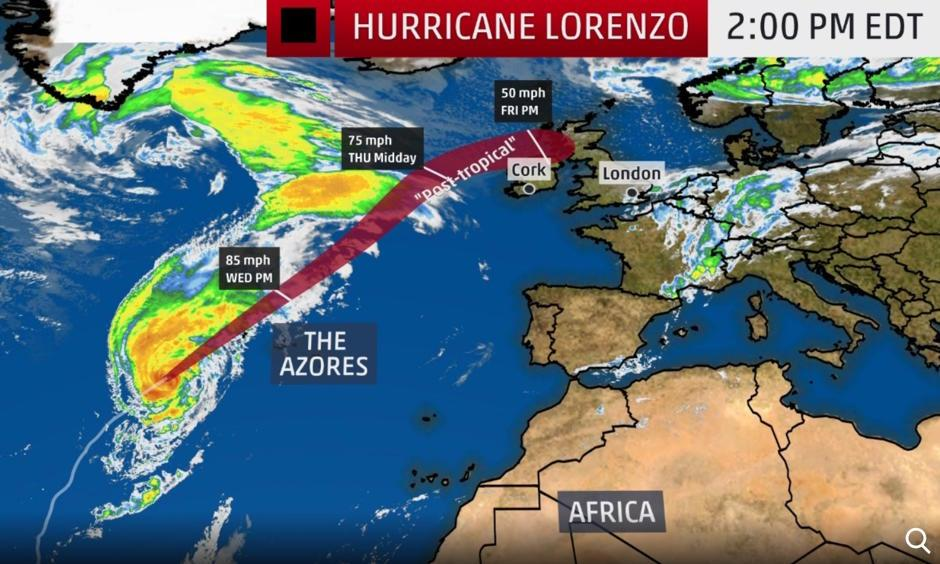 The red-shaded area denotes the potential path of the center of the tropical cyclone. It's important to note that impacts (particularly heavy rain, high surf, coastal flooding, winds) with any tropical cyclone usually spread beyond its forecast path. Image: The Weather Channel