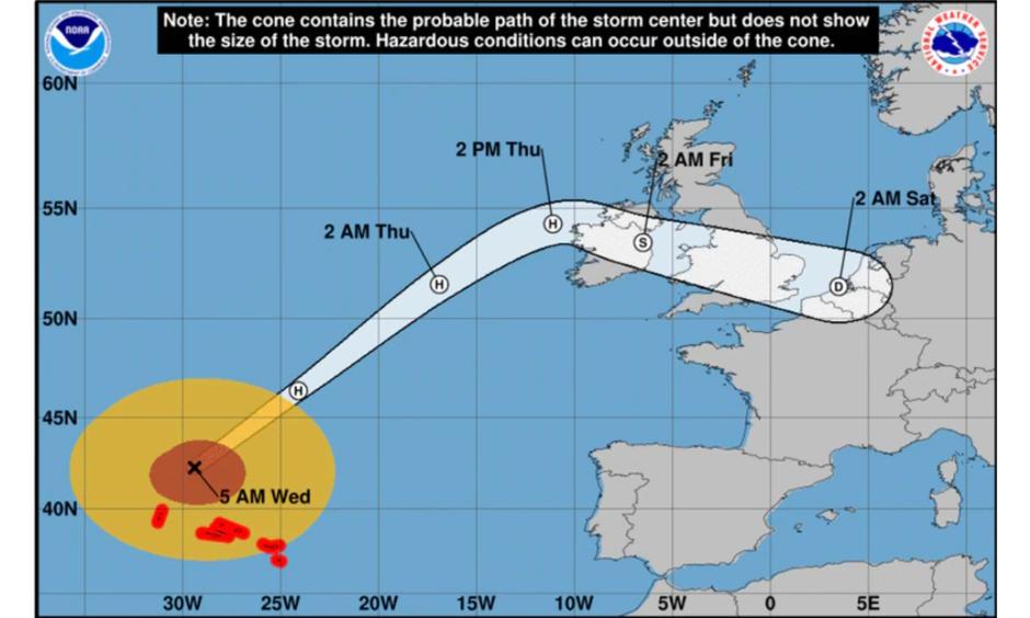 Hurricane Lorenzo weakened into a Category 1 storm just before arriving near the western Azores where it caused minimal damage, the National Hurricane Center said in its 5 a.m. Wednesday update. Image: The National Hurricane Center
