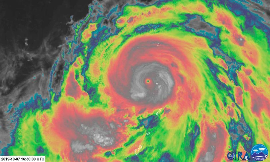 Super Typhoon Hagibis at Category 5 equivalent strength Monday. Image: CIRA and RAMMB