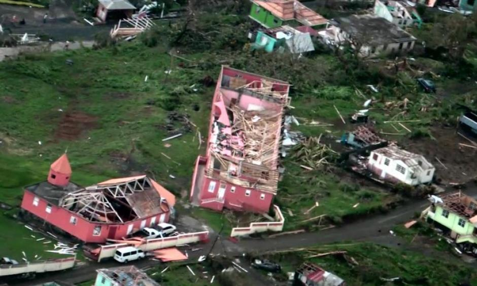Damage on the Lesser Antilles island of Dominica, after Hurricane Maria hit as a Category 5 storm with 160 mph winds. Maria killed at least 7 people on Dominica, and 2 on neighboring Guadeloupe. Image: Still from video by the Caribbean Disaster Emergency Management Agency