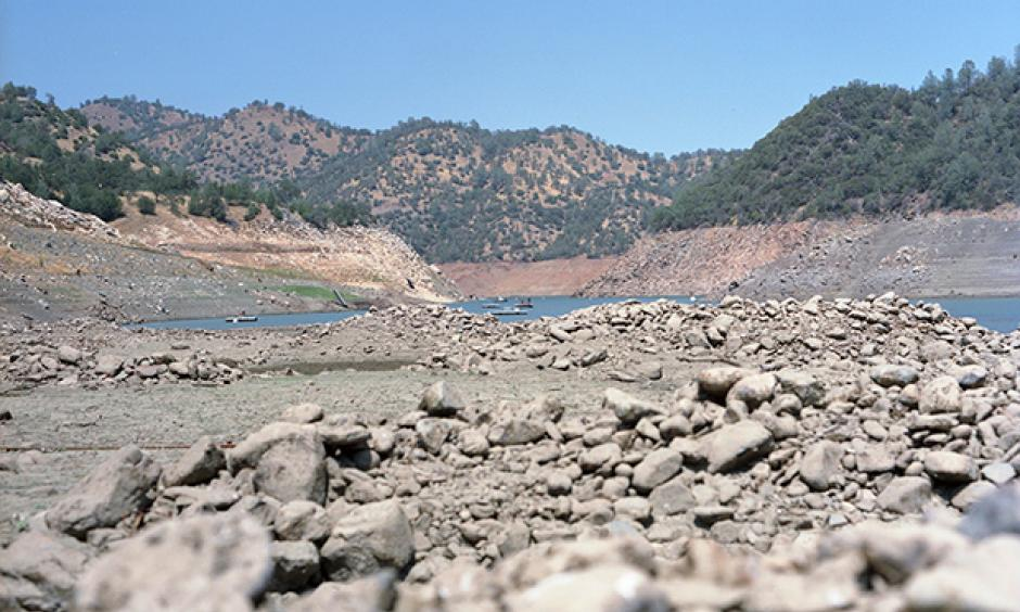 Low water in Don Pedro Reservoir, located in the foothills of the Sierra Nevada about 10 miles west of Yosemite National Park. This photo was taken on October 10, 2014, when nearly the entire state of California was still classified as being drought status D4—exceptional drought. Photo: Andrew Williams