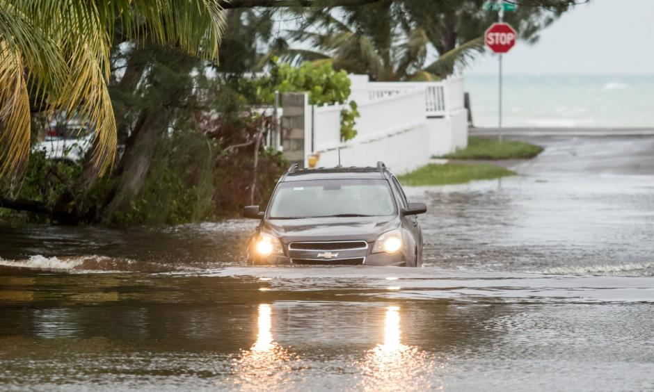 A flooded street in Nassau, the capital of the Bahamas, on Monday. Photo: Reuters