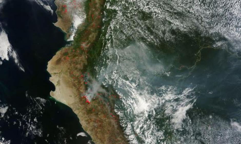 Last November, wildfires burned through the Amazon rainforest in Peru as  a record drought left the region bone-dry. From Drought Now Spans the Globe. Image: LANCE-MODIS