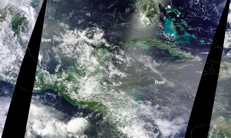 The light brown areas show the hazy conditions associated with Saharan dust in the western Gulf of Mexico and western Caribbean June 20. Image: NASA
