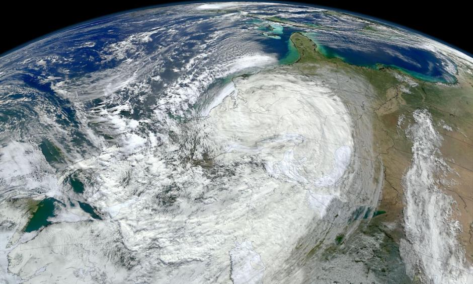 A NASA image of Hurricane Sandy moving along the United States' East Coast. Extreme weather events like this are becoming more frequent, but scientists still face challenges when attributing any one storm to climate change. Photo: Alamy Read