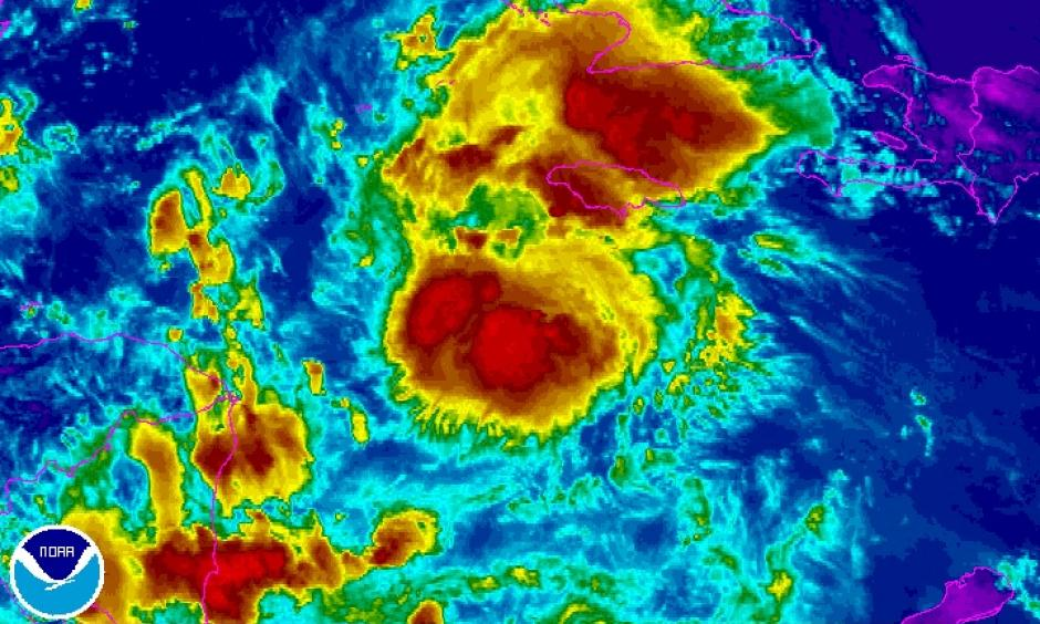 Infrared satellite image of Tropical Storm Earl at 1615Z (12:15 pm EDT) Tuesday, August 2, 2016. Image: NOAA/NESDIS