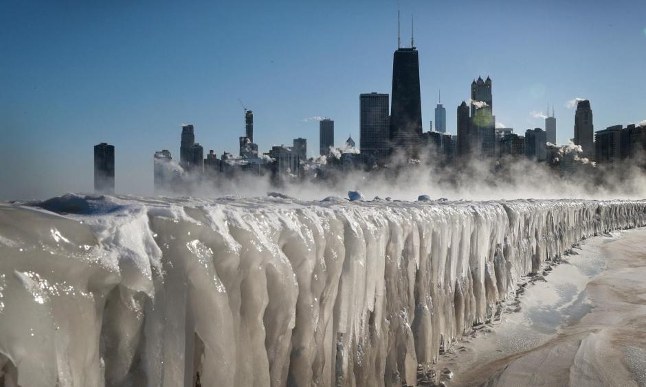 Ice covers the Lake Michigan shoreline on Wednesday in Chicago. Photo: Scott Olson, Getty Images