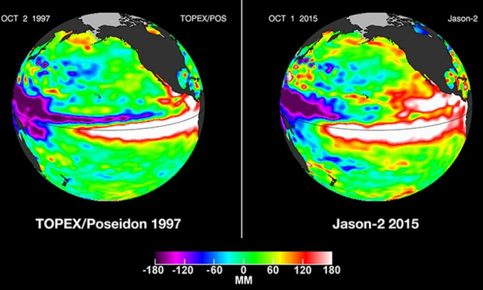 Pacific Ocean sea surface height anomalies during the 1997-98 El Nino (left) are compared with 2015 Pacific conditions (right). The 1997 data are from the NASA/CNES Topex/Poseidon mission; the 2015 data are from the NASA/CNES/NOAA/EUMETSAT Jason-2 mission. Image: NASA, JPL-Caltech