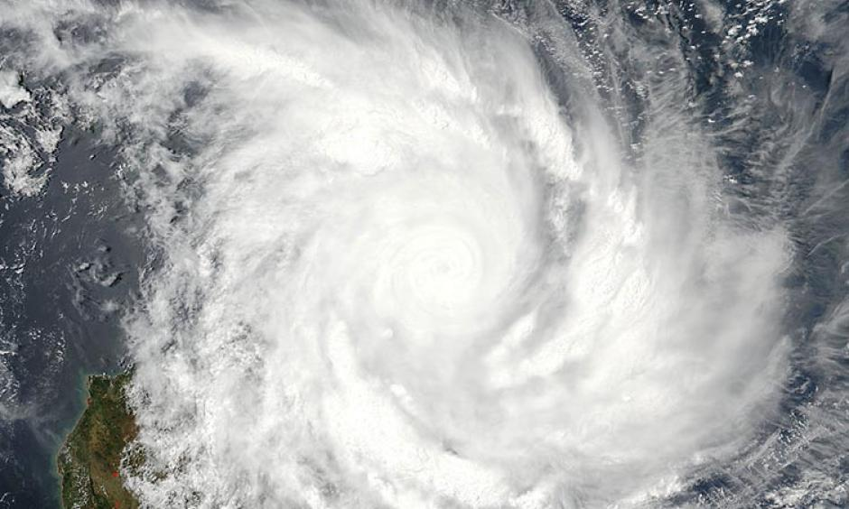 Visible MODIS image of Enawo taken at 10:24 UTC (5:24 am EST) Tuesday March 7, 2017. At the time, Enawo had just made landfall over northeast Madagascar as a Category 4 storm with 145 mph winds. Image: NASA