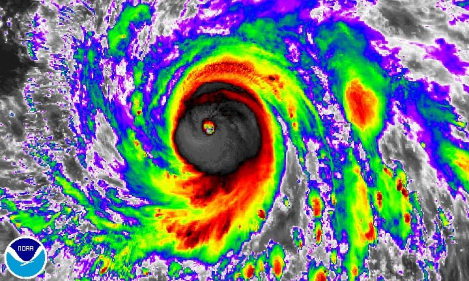 Enhanced infrared Himiwari-8 satellite image of Typhoon Haima at 7:00 am EDT Monday, October 17, 2016. Image: NOAA/NESDIS